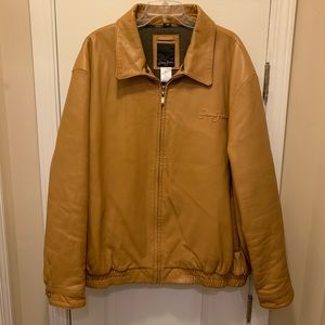 Sean John Genuine Leather Butterscotch Bomber XXL